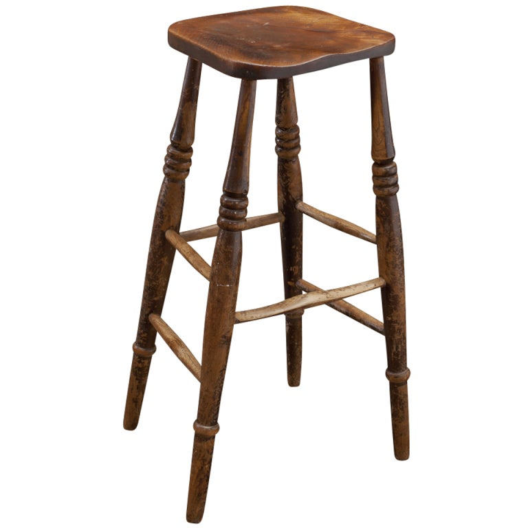 Tall wooden work stool at stdibs