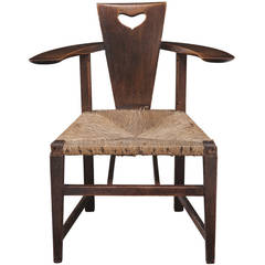 George Walton Ash and Rush-Seat Abingwood Elbow Chair, circa 1897