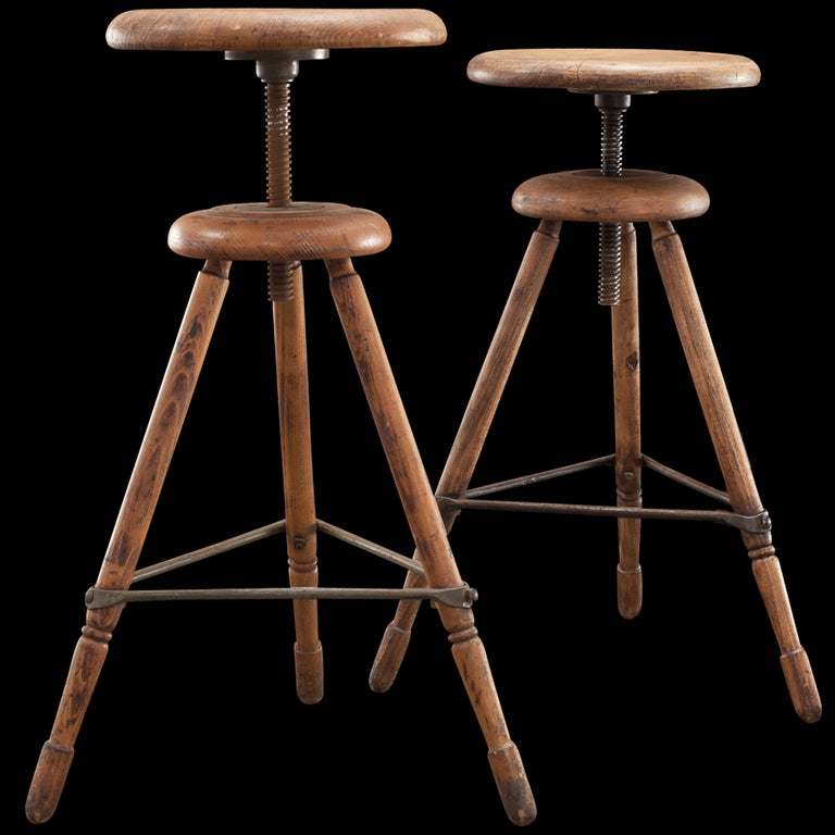 Industrial Wood Iron Painters Stool At 1stdibs