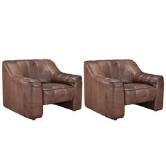 Pair of de Sede DS-44 Leather Club Chairs