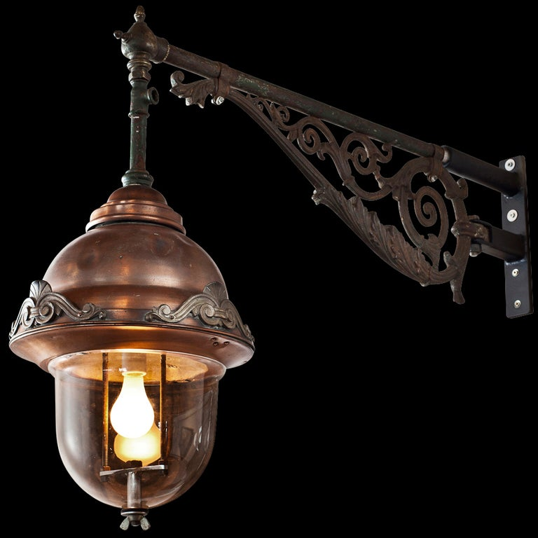 Wall Mounted Street Lamps : Wall Mounted Copper Street Light at 1stdibs