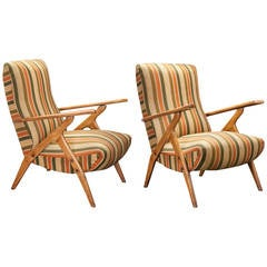Pair of Striped Lounge Chairs