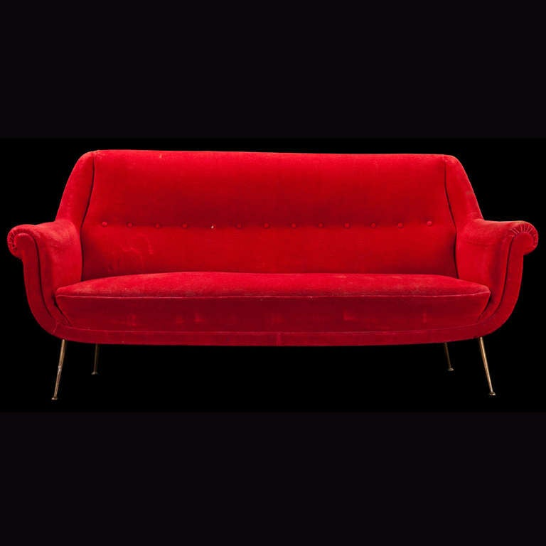 Red velvet sofa at 1stdibs for Red velvet sectional sofa
