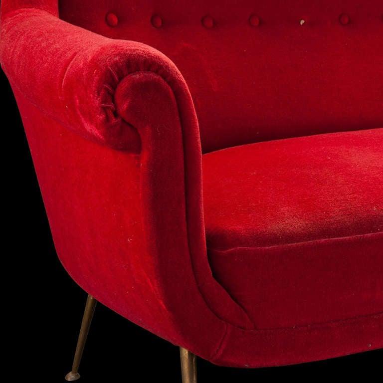Red Velvet Sofa 4