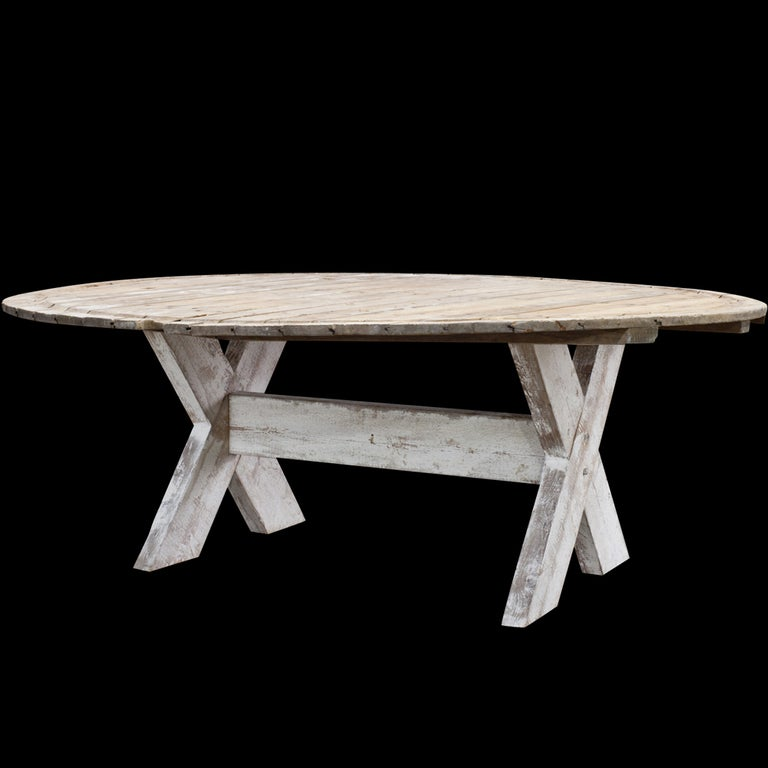 Monumental Primtive Round Dining Table At 1stdibs