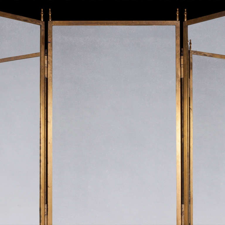 Three Way Brass Mirror At 1stdibs