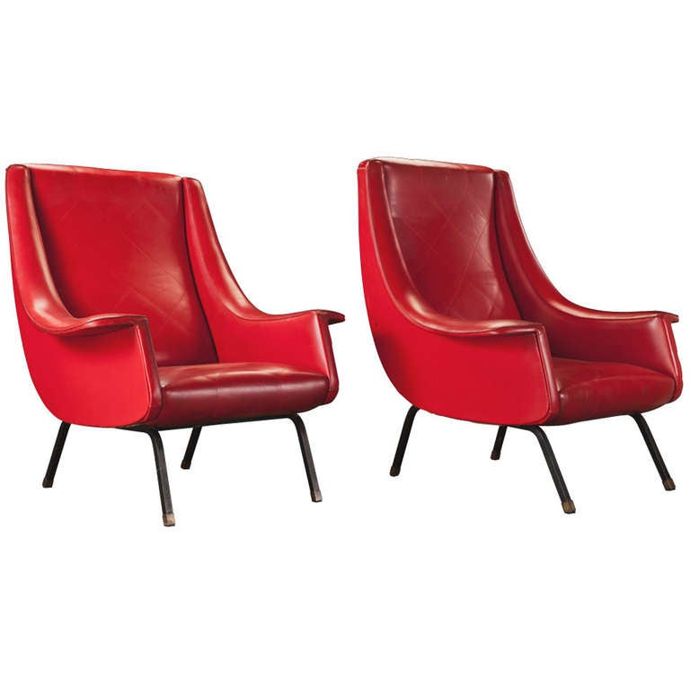 Pair Of Red Vinyl Modern Arm Chairs At 1stdibs