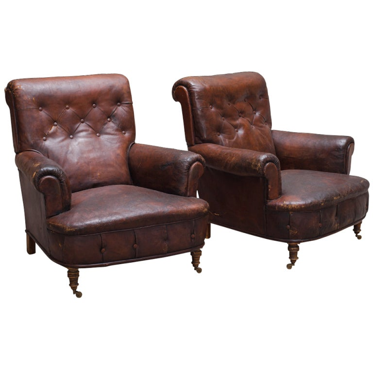 XXX Brown Button Leather Chair Set 01