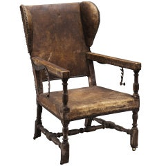 Monumental Leather Wingback Recliner
