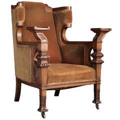 Ceremonial High Arm Oak and Velvet Chair