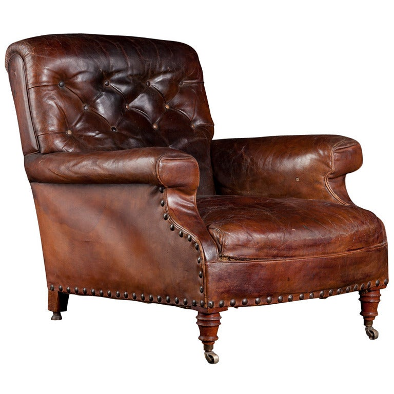 Leather library chair at 1stdibs - Library lounge chairs ...