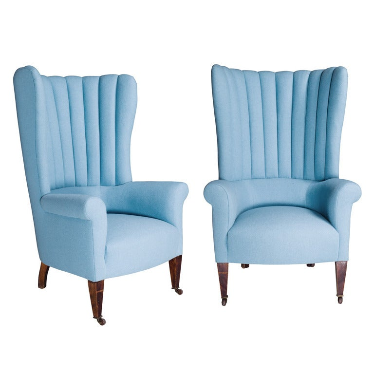 Pair Of Porter S Wingback Chairs At 1stdibs