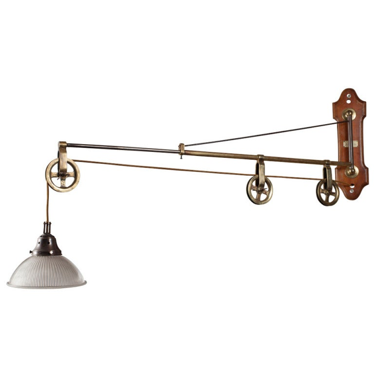 Wall Lamp With Extending Arm : Extension Arm Pulley Light at 1stdibs
