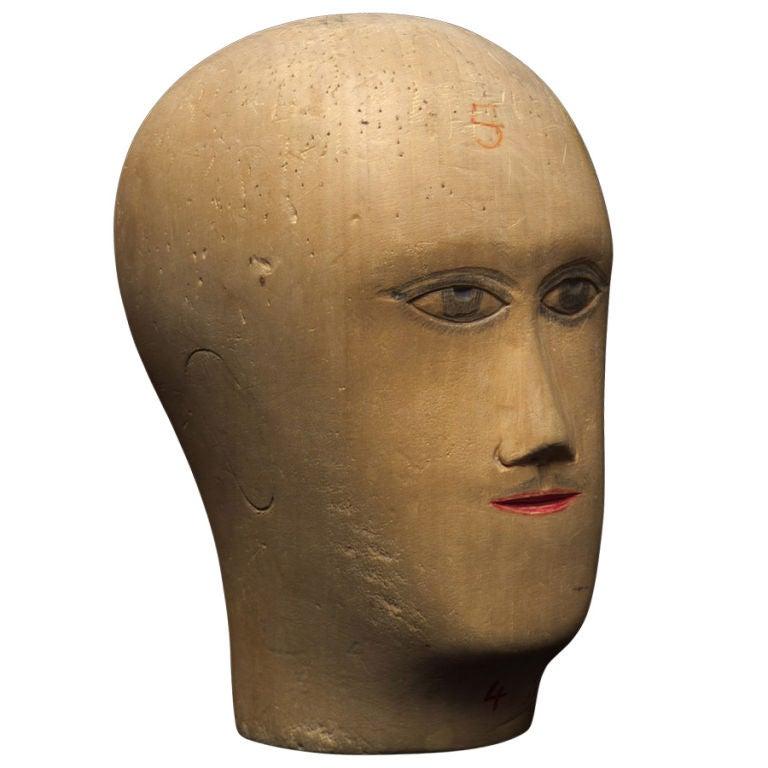 Wooden Mannequin / Hat Display Head For Sale