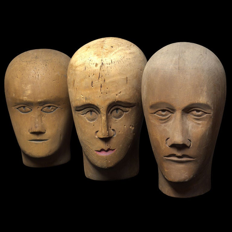 French Wooden Mannequin / Hat Display Head For Sale