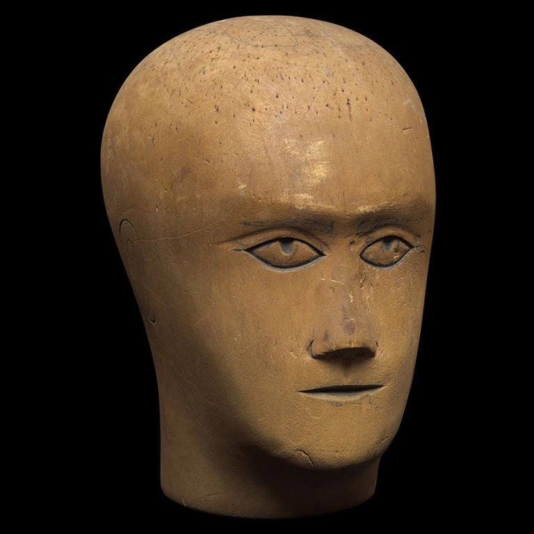 19th Century Wooden Mannequin / Hat Display Head For Sale