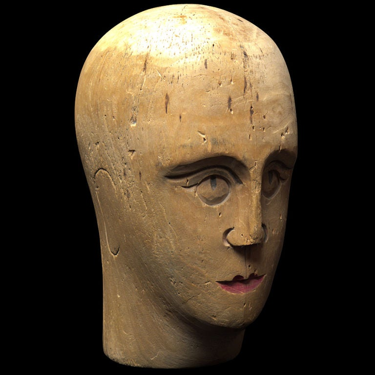 Wooden Mannequin / Hat Display Head For Sale 1