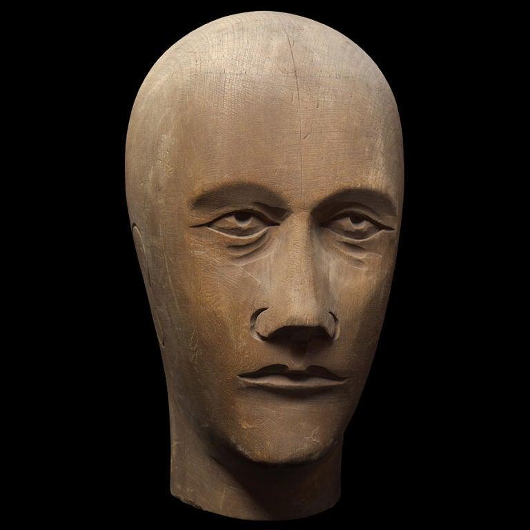 Wooden Mannequin / Hat Display Head For Sale 2
