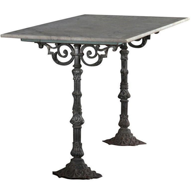 Marble top consoles with cast iron base at 1stdibs for Cast iron table base marble top