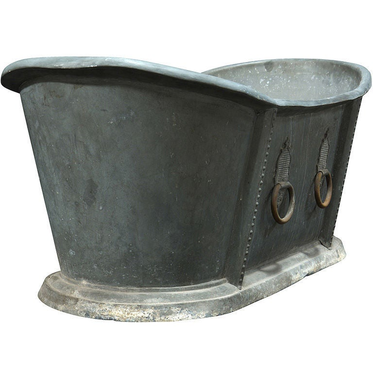 zinc bathtub with original hardware at 1stdibs