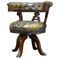 Tufted Leather and Wood Desk Chair