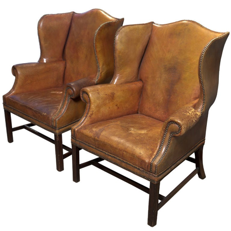 Pair Of English Leather Wingback Chairs At 1stdibs