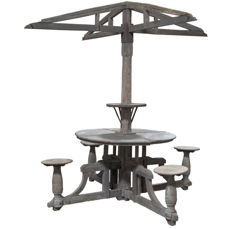 Round Outdoor Canopied Garden Table for Four