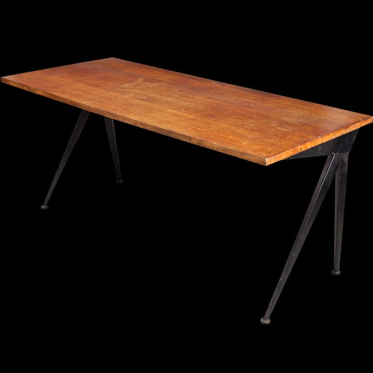 Jean Prouve Compass Desk In Distressed Condition For Sale In Culver City, CA