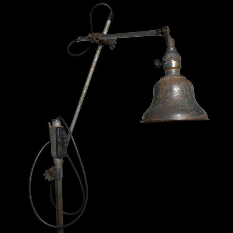 O.C. White Industrial Floor Stand Light At 1stdibs