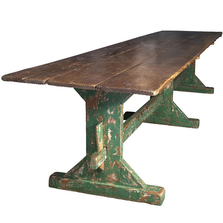 Dining Table With Green Trestle Base At 1stdibs