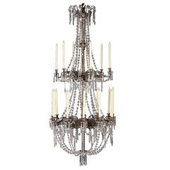 Massive Bronze and Crystal Candle Chandelier