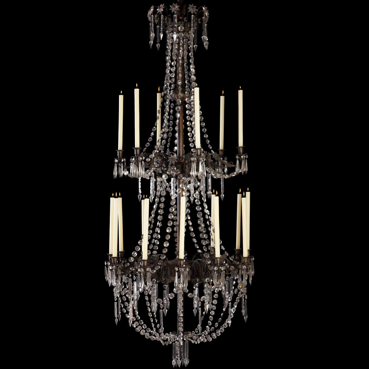 Massive bronze and crystal candle chandelier at 1stdibs Crystal candle chandelier