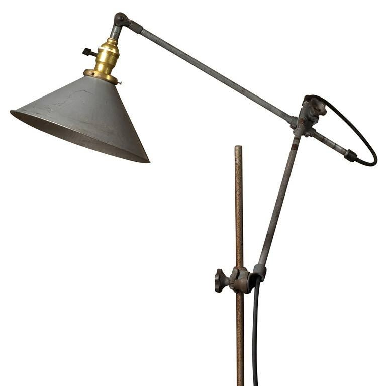 Industrial oc white floor lamp metal shade at 1stdibs for Floor lamp with wire shade