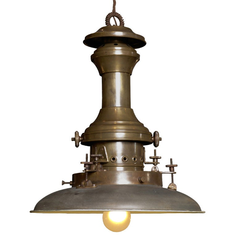 Industrial Pendant Light With Unique Hardware At 1stdibs