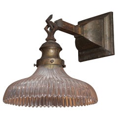 Brass Sconce with Ribbed Glass Shade