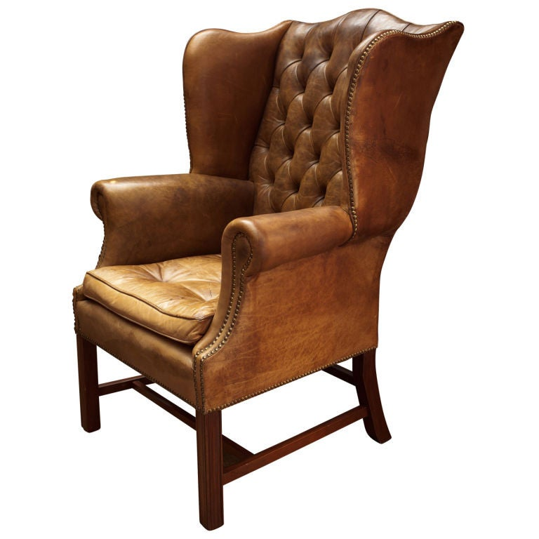 Red Leather Wingback Chair For Sale: Tufted Leather Wingback Library Chair At 1stdibs