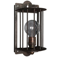 Caged Galvanized Metal Sconce
