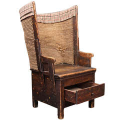 Scottish Primitive Tall Back Chair with Storage Drawer