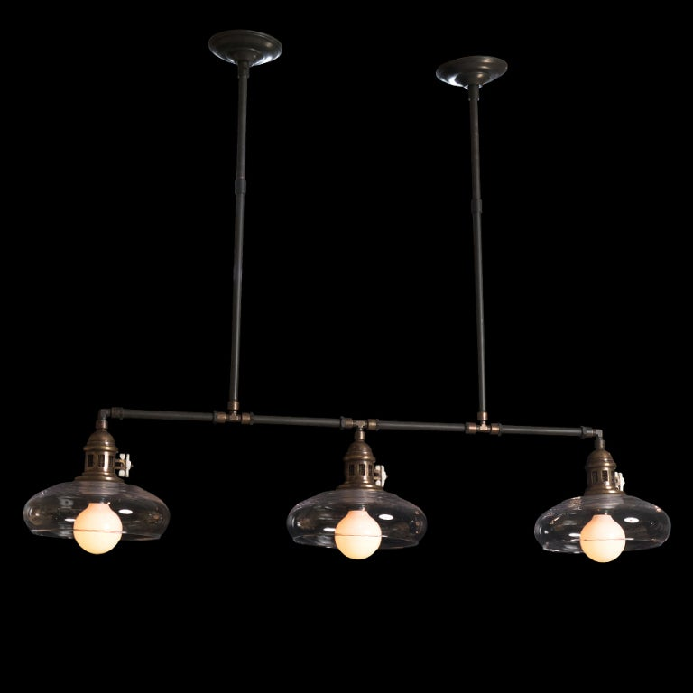 Ceiling Lights Glass Shades : Industrial ceiling light fixture with rounded glass shades at stdibs
