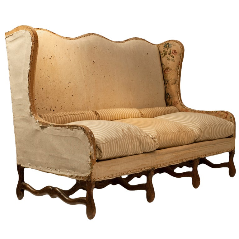 Louis xiii style french wingback sofa at 1stdibs for French divan chair