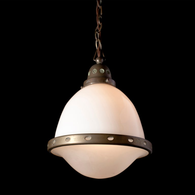 Arts and crafts milk glass pendant light at 1stdibs for Arts and crafts light