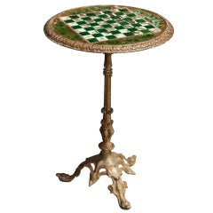 Bistro Table with Checkerboard Inlay and Glass Top