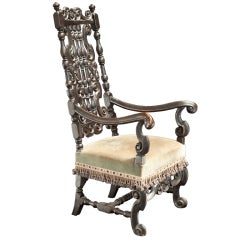Ornately Carved English Tall Back Chair