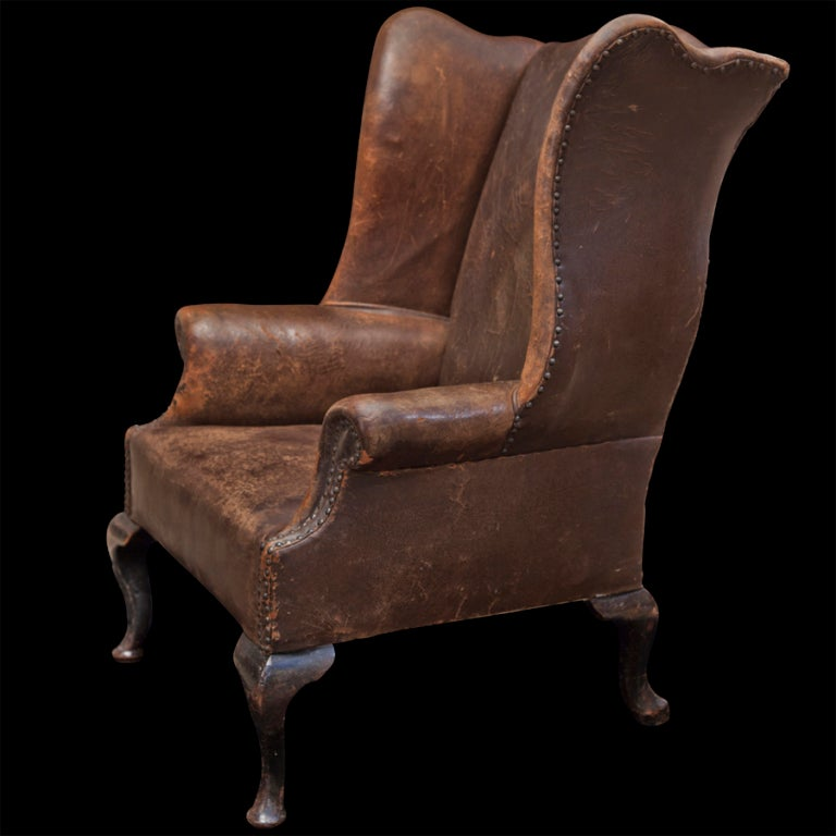 oversized leather wingback chair at 1stdibs