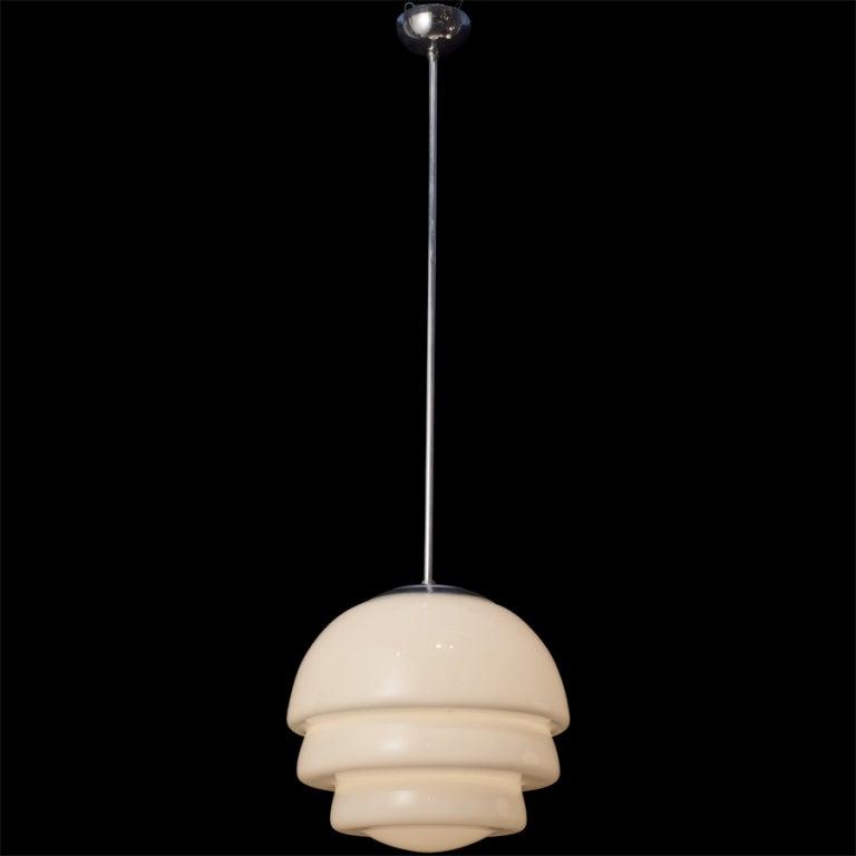 Italian deco milk glass shade pendant, horizontal ribbed glass, original chrome fitter and canopy