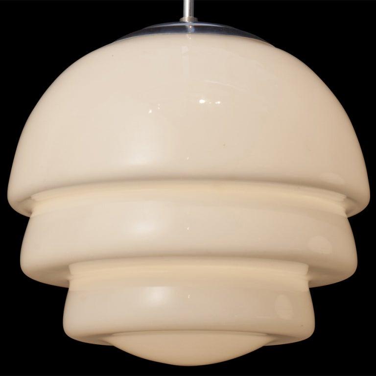 Italian Deco Milk Glass Pendant