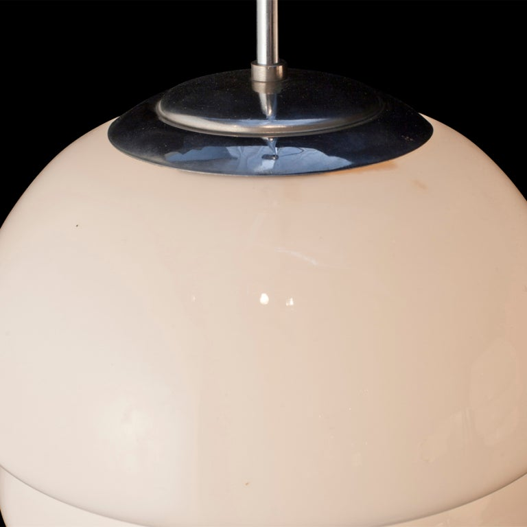 Mid-20th Century Deco Milk Glass Pendant