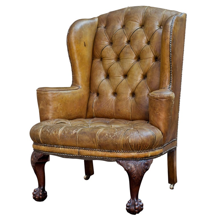 Tufted English Leather Wingback Chair 1