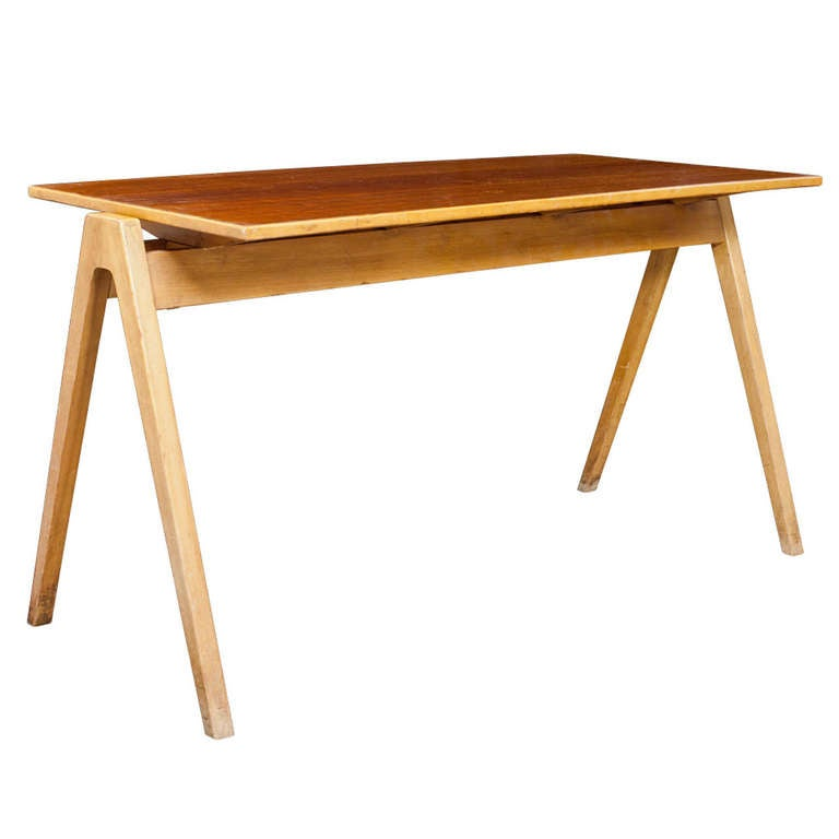 This antique french cherry side table is no longer available - Robin Day Desk At 1stdibs