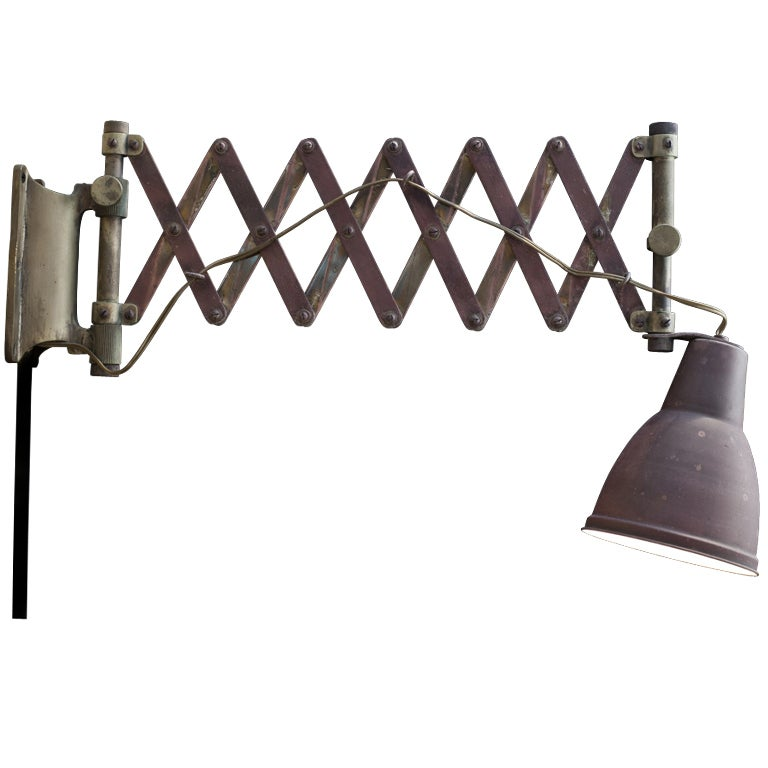 Wall Mounted Scissor Lamp : Industrial Wall Mounted Scissor Light at 1stdibs